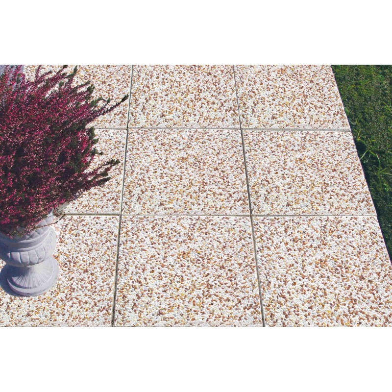 Dalle petits grains concass s roses blancs for Carrelage sur dalle beton