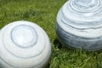 Sphère Marbre Blanc et Noir - zoom