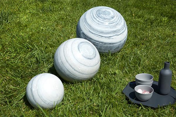 Sphère Marbre Blanc et Noir - jardin